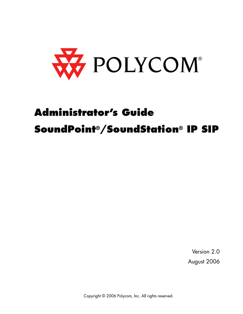 SoundPoint IP / SoundStation IP SIP 2.0 Administrator`s