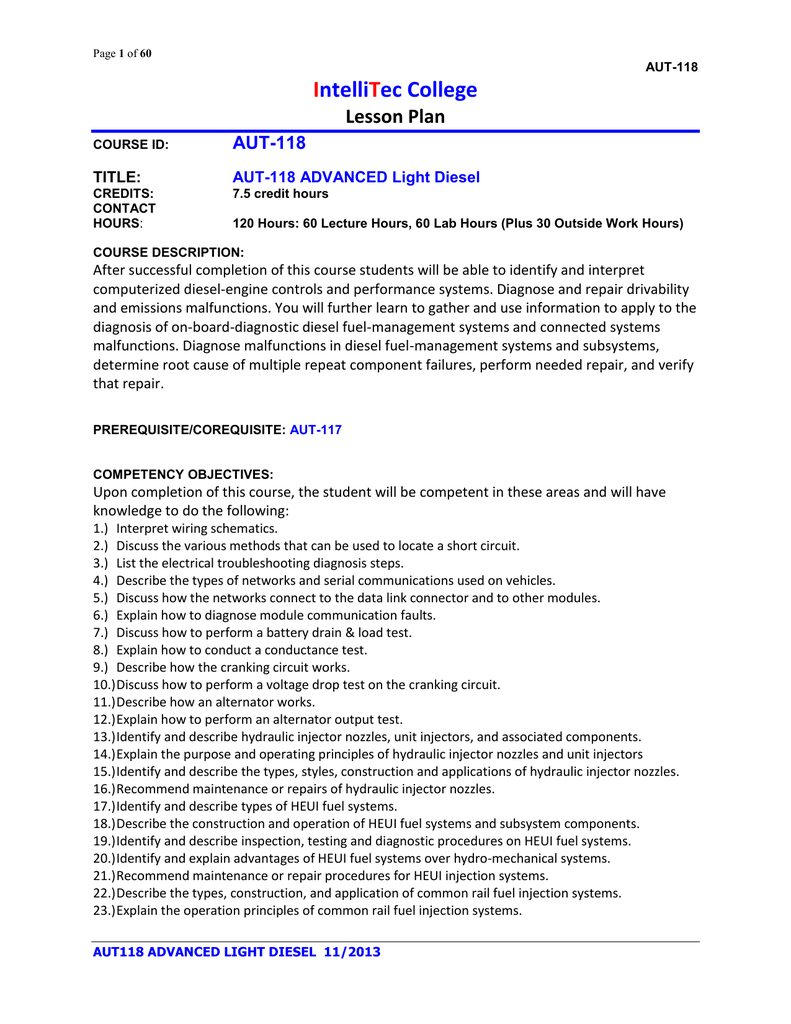 medium resolution of page 1 of 60 aut 118 intellitec college lesson plan course id aut 118 title aut 118 advanced light diesel credits contact hours 7 5 credit hours 120