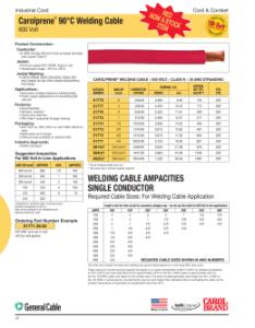 Carolprene  welding cable also ampacities single rh studylib