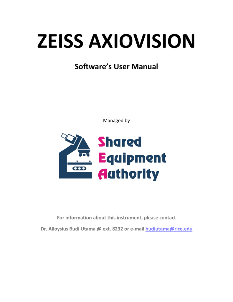 ZEISS AXIOVISION Software`s User Manual