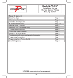 model aps 25e installation manual remote control vehicle security system table of content before you begin wire harness quick view installation of  [ 791 x 1024 Pixel ]