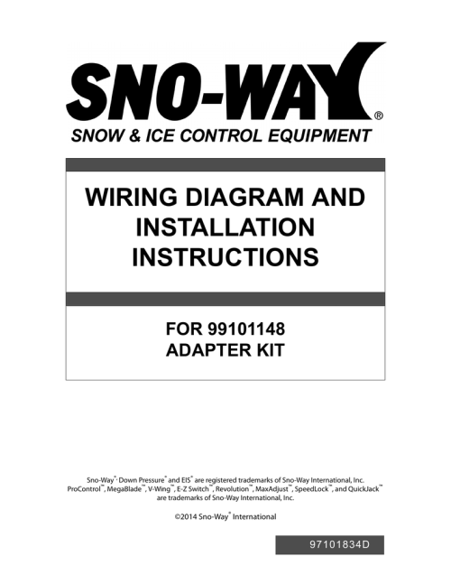 small resolution of wiring diagram and installation instructions for 99101148 adapter kit sno way down pressure and eis are registered trademarks of sno way international