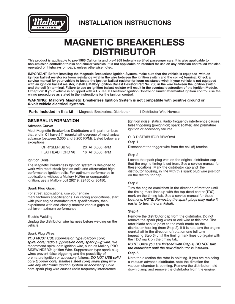 hight resolution of malloy ignition systems installation instructions mix mallory high fire wiring diagram 18
