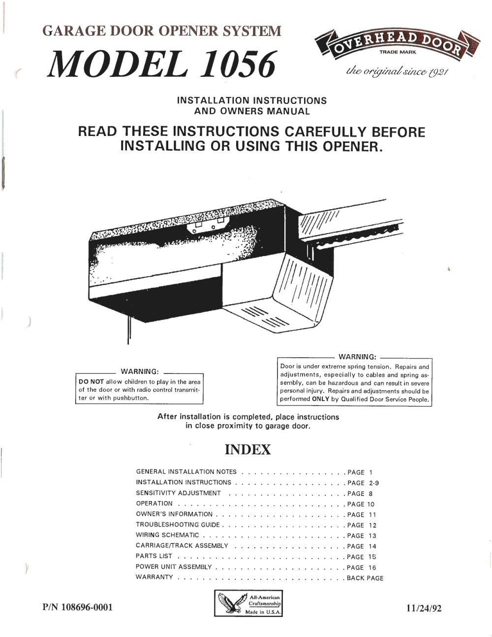 medium resolution of model 1056 overhead door company of cortland installation for garage door opener general wiring diagram for garage door openers