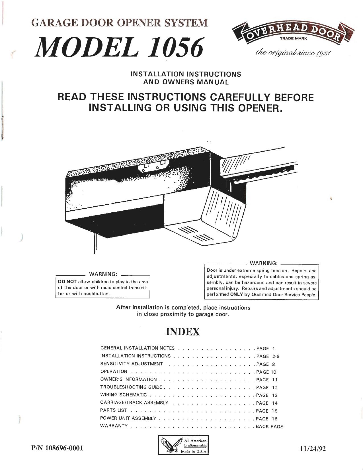 hight resolution of model 1056 overhead door company of cortland installation for garage door opener general wiring diagram for garage door openers