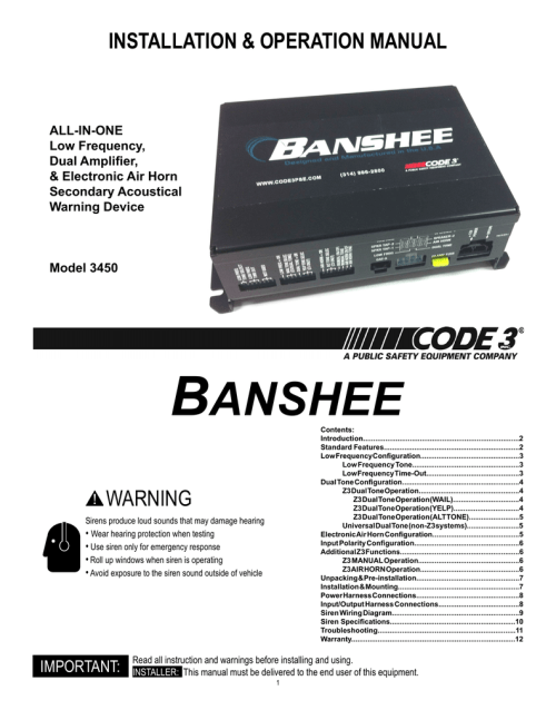 small resolution of installation operation manual all in one low frequency dual amplifier electronic air horn secondary acoustical warning device model 3450 banshee
