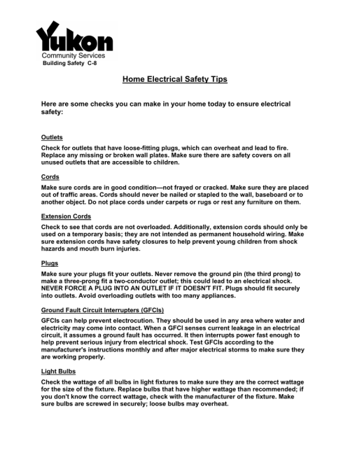 small resolution of building safety c 8 home electrical safety tips here are some checks you can make in your home today to ensure electrical safety outlets check for outlets