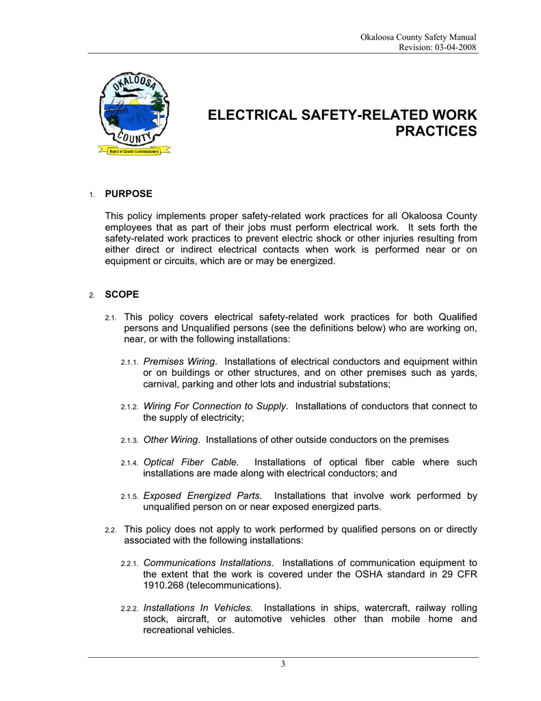 hight resolution of electrical safety related work practices electrical standard wiring practices manual