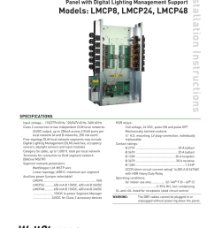 panel with digital lighting management support models lmcp8 lmcp24 lmcp48 installation instructions relay panel interiors specifications input voltage  [ 791 x 1024 Pixel ]