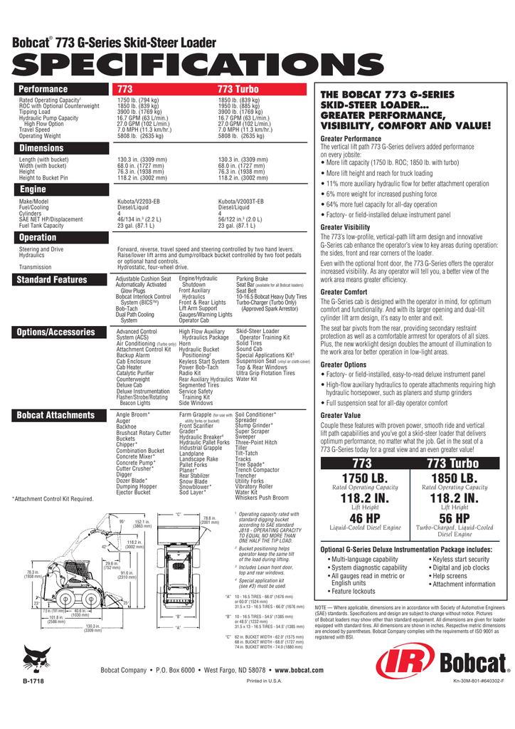 773 G-Series Loader Spec Sheet b-1718 Ver 08/01