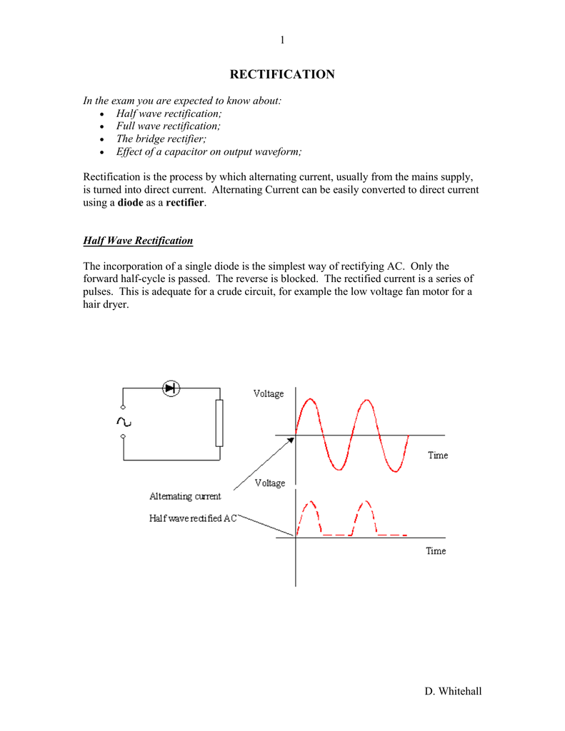 medium resolution of 1 rectification in the exam you are expected to know about half wave rectification full wave rectification the bridge rectifier effect of a