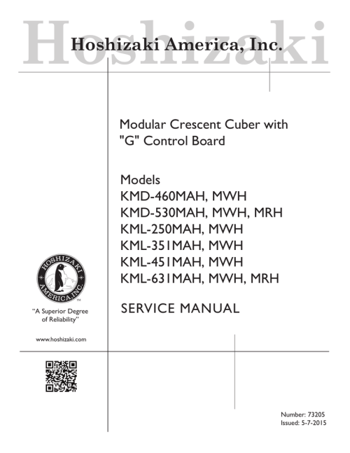small resolution of service manual advertisement hoshizaki hoshizaki america inc modular crescent cuber with g control board models kmd 460mah mwh kmd 530mah mwh