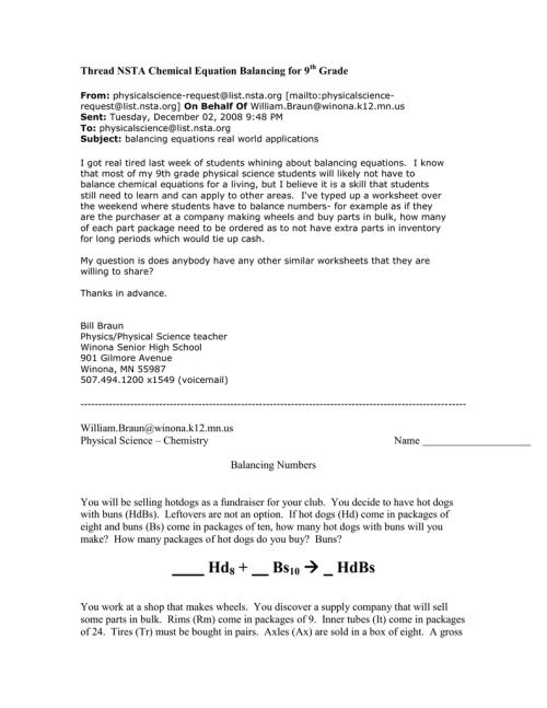 small resolution of Thread NSTA chemistry equation balancing 9th grade