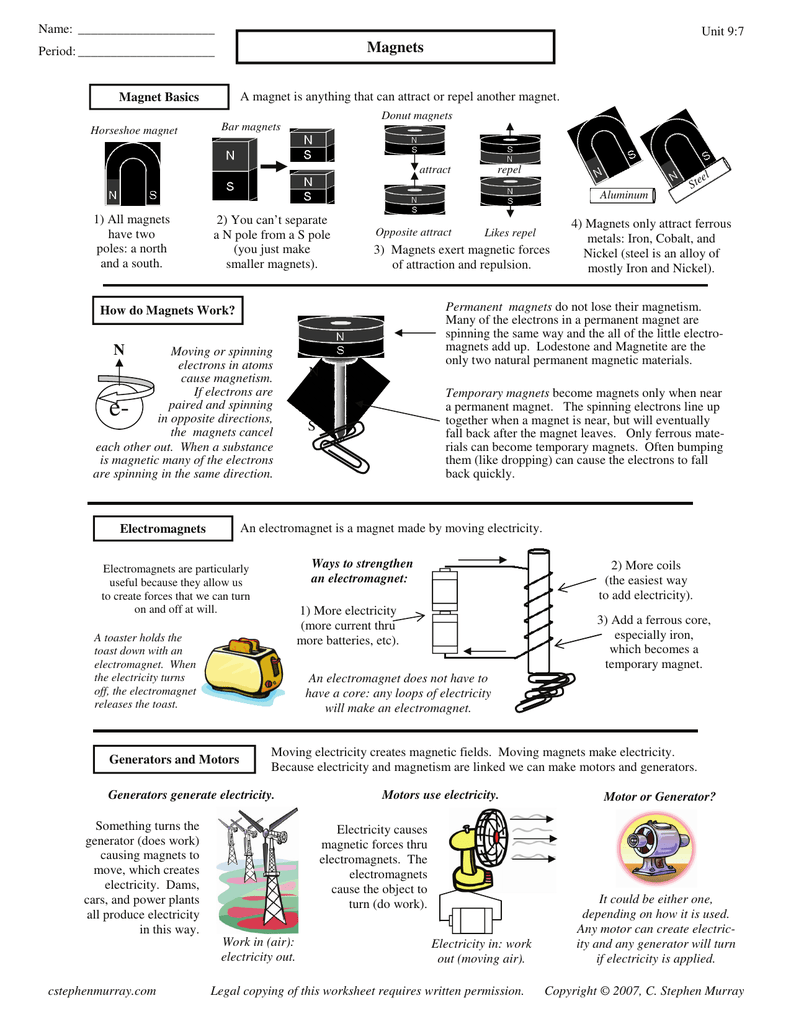 Magnetism Worksheet Answers Stephen Murray