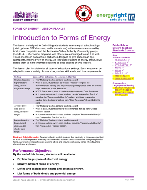 small resolution of Introduction to Forms of Energy