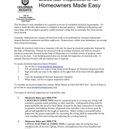 electrical inspections for homeowners made easy city of columbia heights community development department this brochure is only intended to be a general  [ 791 x 1024 Pixel ]