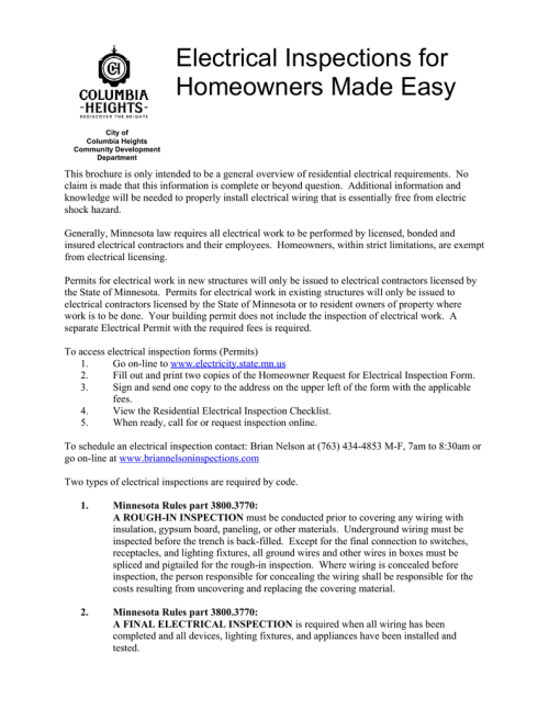 small resolution of electrical inspections for homeowners made easy city of columbia heights community development department this brochure is only intended to be a general