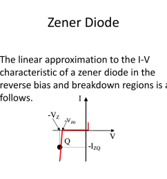 zener diode the linear approximation to the i v characteristic of a zener diode in the reverse bias and breakdown regions is as follows  [ 1024 x 768 Pixel ]