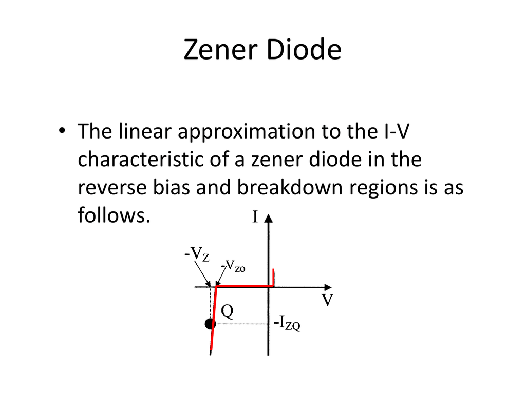 hight resolution of zener diode the linear approximation to the i v characteristic of a zener diode in the reverse bias and breakdown regions is as follows