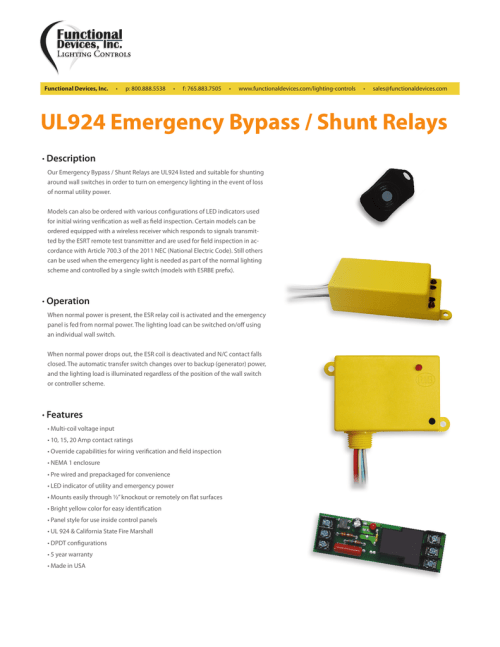 small resolution of ul924 emergency bypass shunt relaysfunctional devices inc u2022 p 800 888 5538 u2022