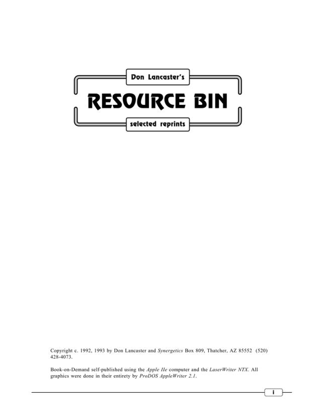 Resource Bin Don Lancaster S Guru Lair
