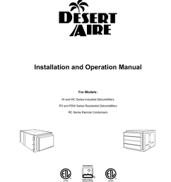 installation and operation manual for models ih and wc series industrial dehumidifiers pd and pdw series residential dehumidifiers rc series remote  [ 791 x 1024 Pixel ]