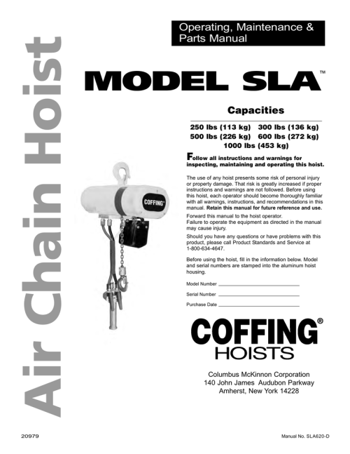 small resolution of model sla air chain hoist cm chain hoist parts cm hoist wiring diagram 600 pound