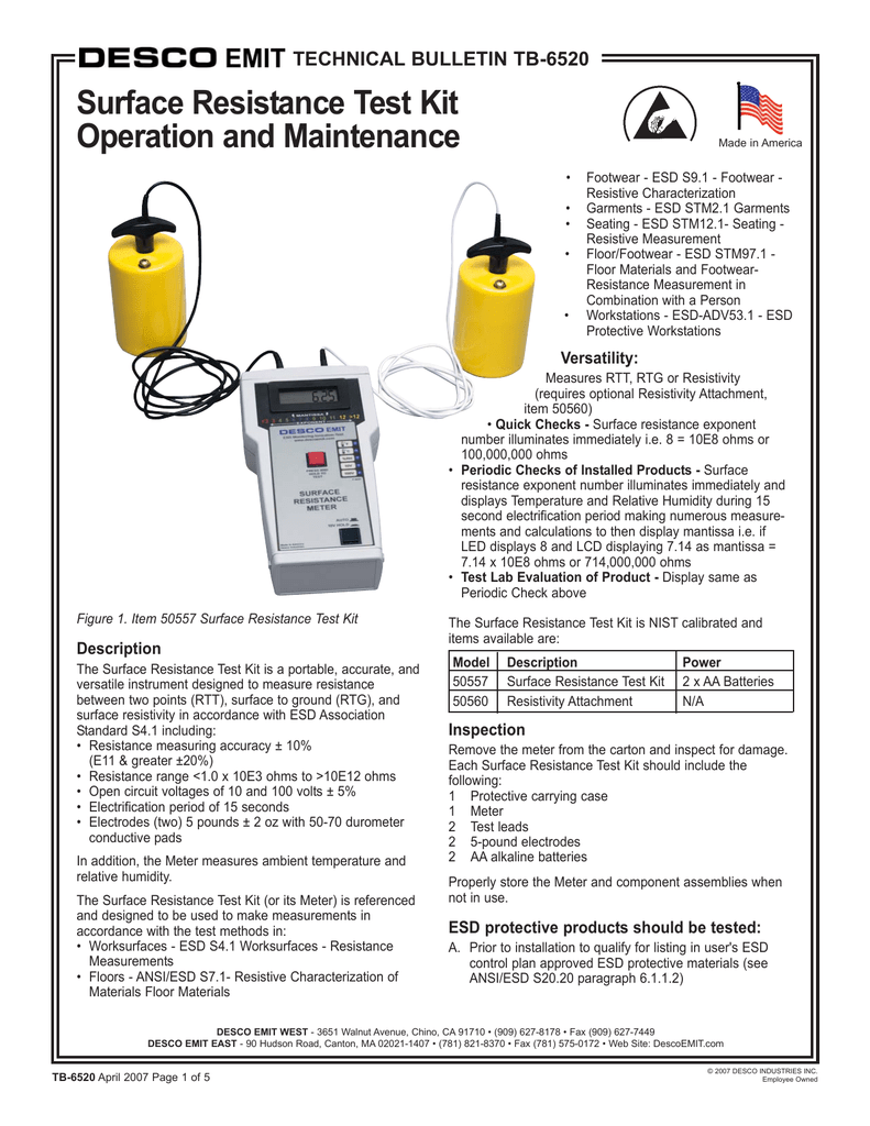 Surface Resistance Test Kit Operation and Maintenance