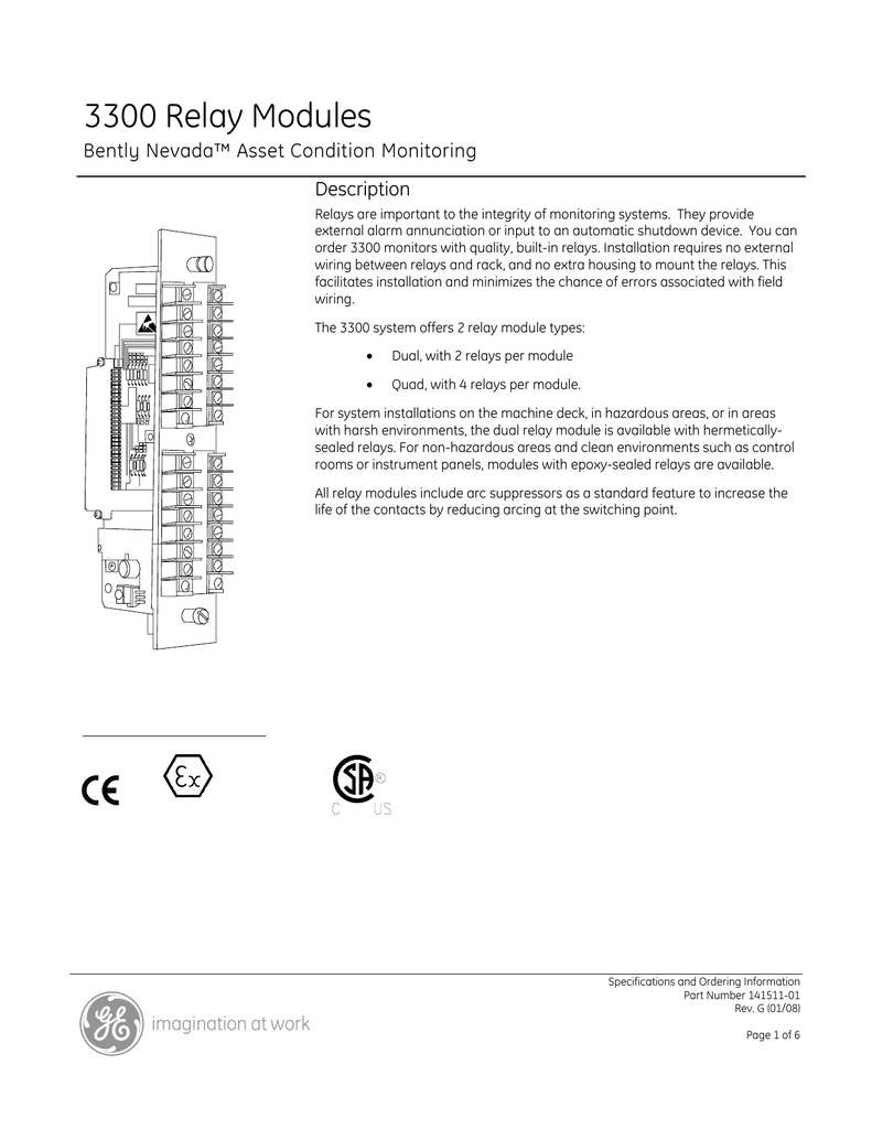 hight resolution of ge bently nevada 3300 relay modules datasheet pdf