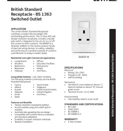 product specifications british standard receptacle bs 1363 switched outlet the leviton british standard receptacle combines a modern decora design with  [ 791 x 1024 Pixel ]