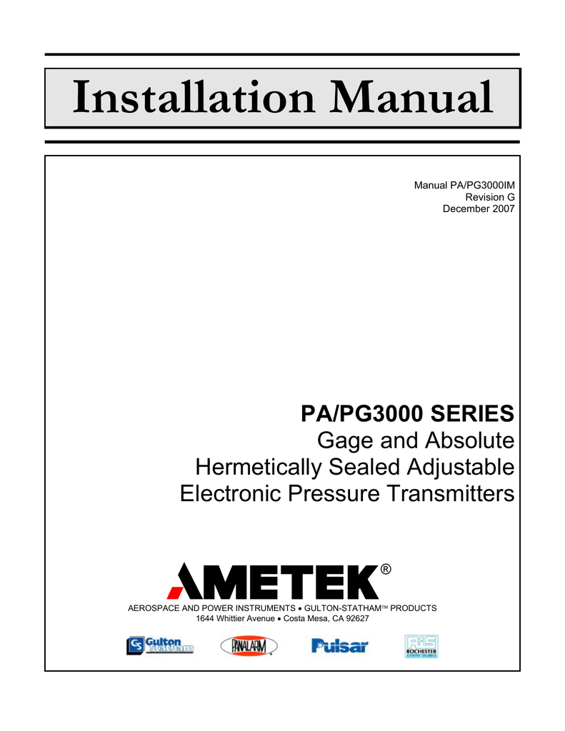 medium resolution of installation manual ametek power instruments rh studylib net mopar ignition modules ford ignition module schematic