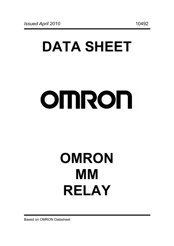 DATA SHEET OMRON MM RELAY