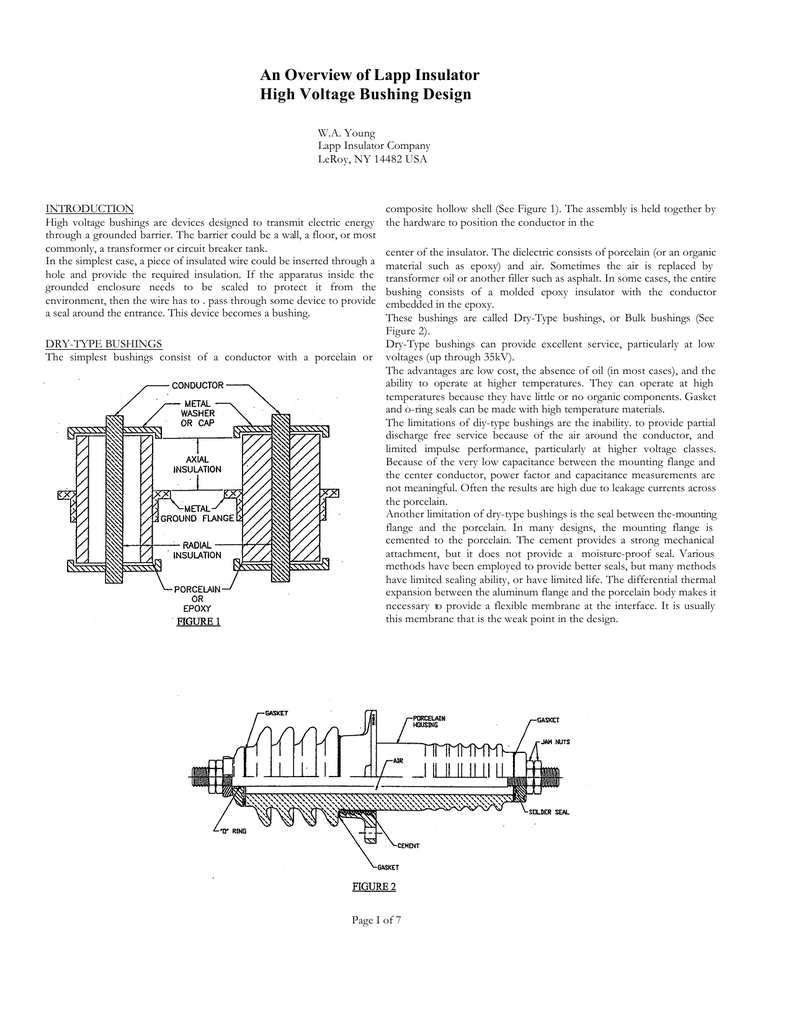 medium resolution of an overview of lapp insulator high voltage bushing design w a young lapp insulator company leroy ny 14482 usa introduction high voltage bushings are