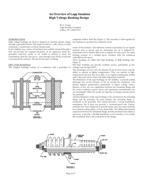 small resolution of an overview of lapp insulator high voltage bushing design w a young lapp insulator company leroy ny 14482 usa introduction high voltage bushings are
