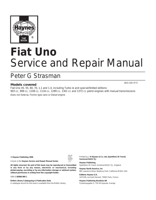 small resolution of fiat uno service and repair manual peter g strasman 923 320 3y7 models covered fiat uno 45 55 60 70 1 1 and 1 4 including turbo ie and