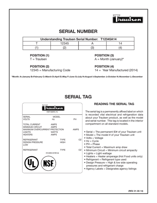 small resolution of serial number wiring diagram for an older production unit please contact traulsen