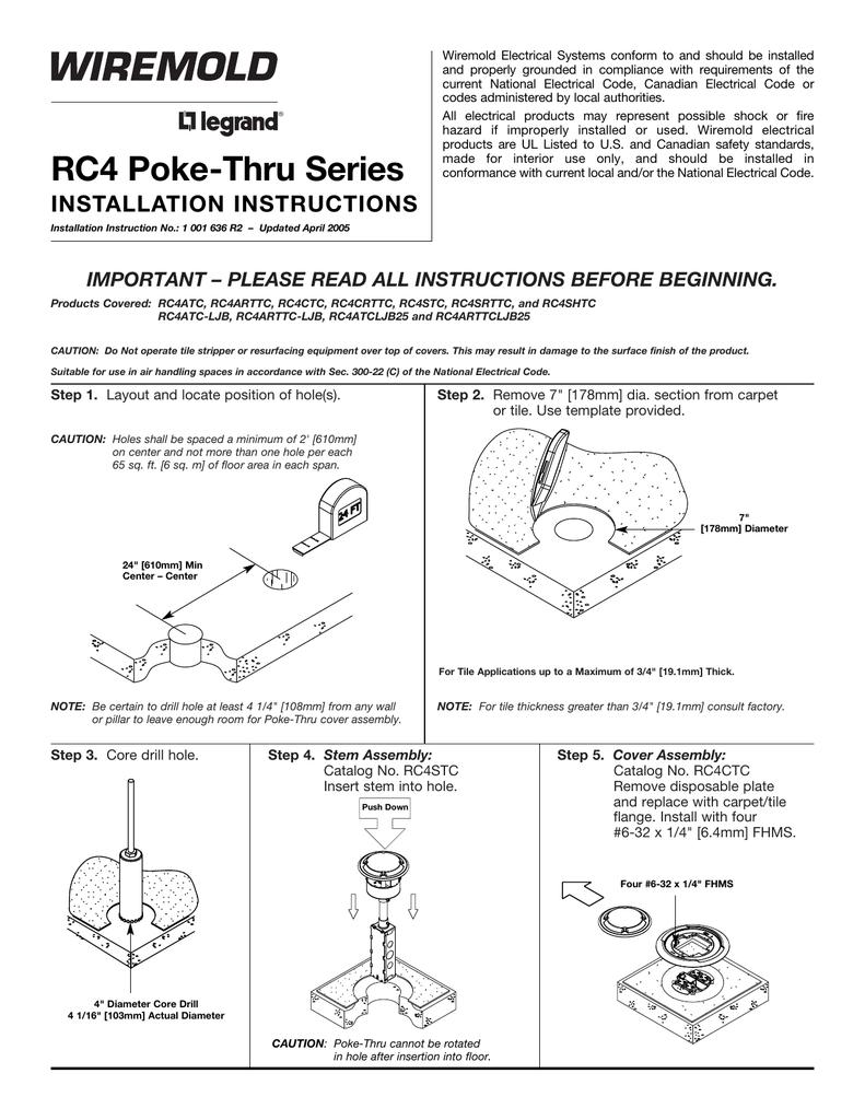 medium resolution of rc4 series poke thru devices installation instructions rc4 wiring diagram