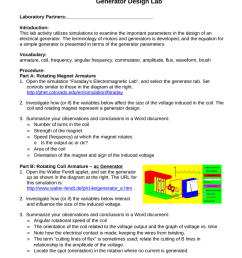 introduction this lab activity utilizes simulations to examine the important parameters in the design of an electrical generator  [ 791 x 1024 Pixel ]