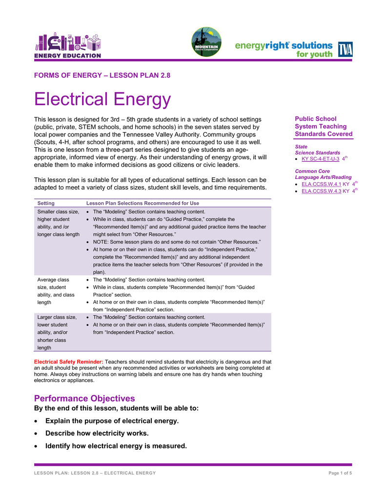 hight resolution of lesson plan 2 8 electrical energyelectrical circuit lesson plan 5th grade 8