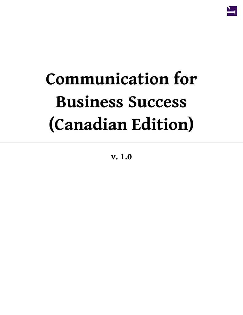 Communication for Business Success (Canadian Edition)