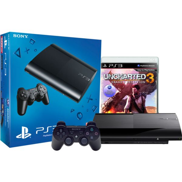 Sony Playstation 3 Slim 500gb Console - Includes Uncharted And Dualshock Controller Games