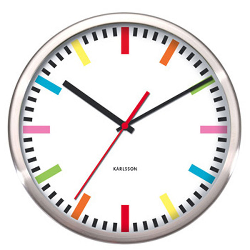 Karlsson Rainbow Wall Clock SteelWhite IWOOT