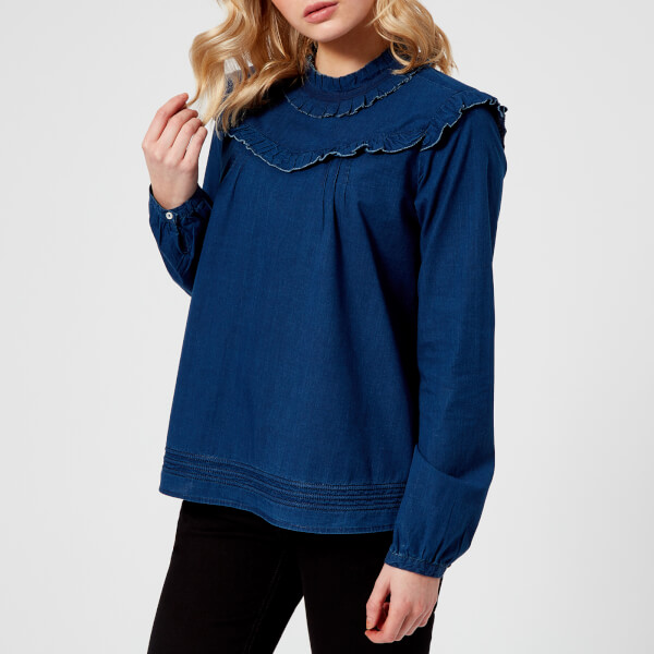 Maison Scotch Women's Fresh Cotton Shirt with Small Ruffles - Indigo