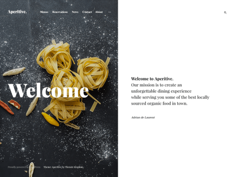A delicious, crispy, tender theme for a restaurant website, solo chef, or all-around food lover