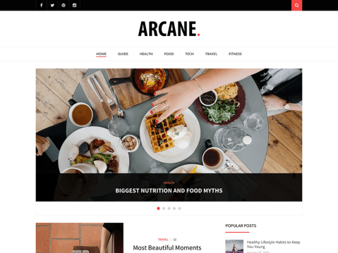 Arcane is a clean, responsive, retina ready and modern WordPress theme suitable for personal blogs or small and medium sized magazine websites. It comes with theme customizer, sidebar positions, sticky menu, sticky sidebar, featured posts, custom widgets, and many other options which make your work easier. We hope you will enjoy it and have a good time publishing your articles.