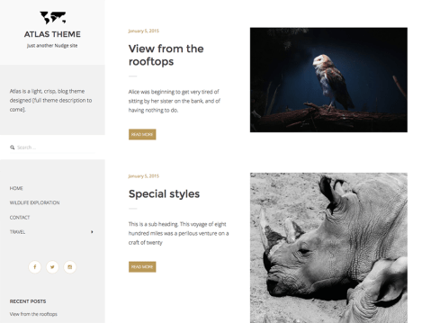 <code>Atlas</code> is a clean, crisp blog theme designed with readability in mind. Its subtle animations are there to delight your readers without distracting from your content or images.