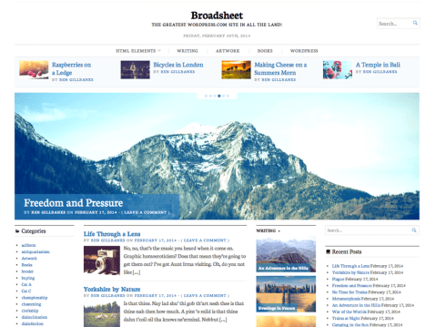 Broadsheet is a newspaper theme. With 3 optional widget areas, and a huge homepage slider there are lots of options for creating interesting, immersive websites.