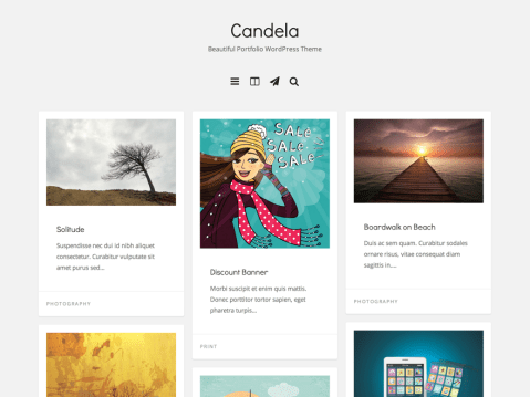 Candela is a personal blogging and portfolio WordPress theme for displaying artwork. Candela focuses on showcasing portfolios of artists, web designers, illustrators and creatives in the most impressive manner. The responsive layout will adapt to different screen sizes which will make your website be compatible with any device such as smart phones, tablets or desktop computers.