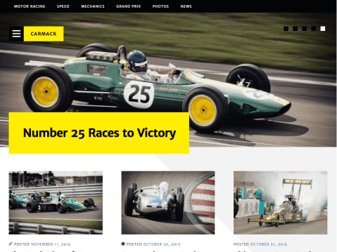 Carmack is a magazine theme, designed primarily for car magazines – but equally usable for Video Games, Movies, Music or any other visual magazine style site. Carmack supports featured content and post formats to allow you to create the perfect website.