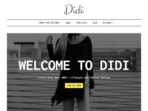 Didi is a modern responsive theme whose sole focus is to present your content in the best possible way on any screen size. Beautiful typography combined with clean layout draws and keeps readers attention to the most important, your content. Variety of front page options, 3 blog layout options and 4 custom page templates leave no wish to be desired. Didi is a perfect match for fashion, lifestyle and magazine style sites.
